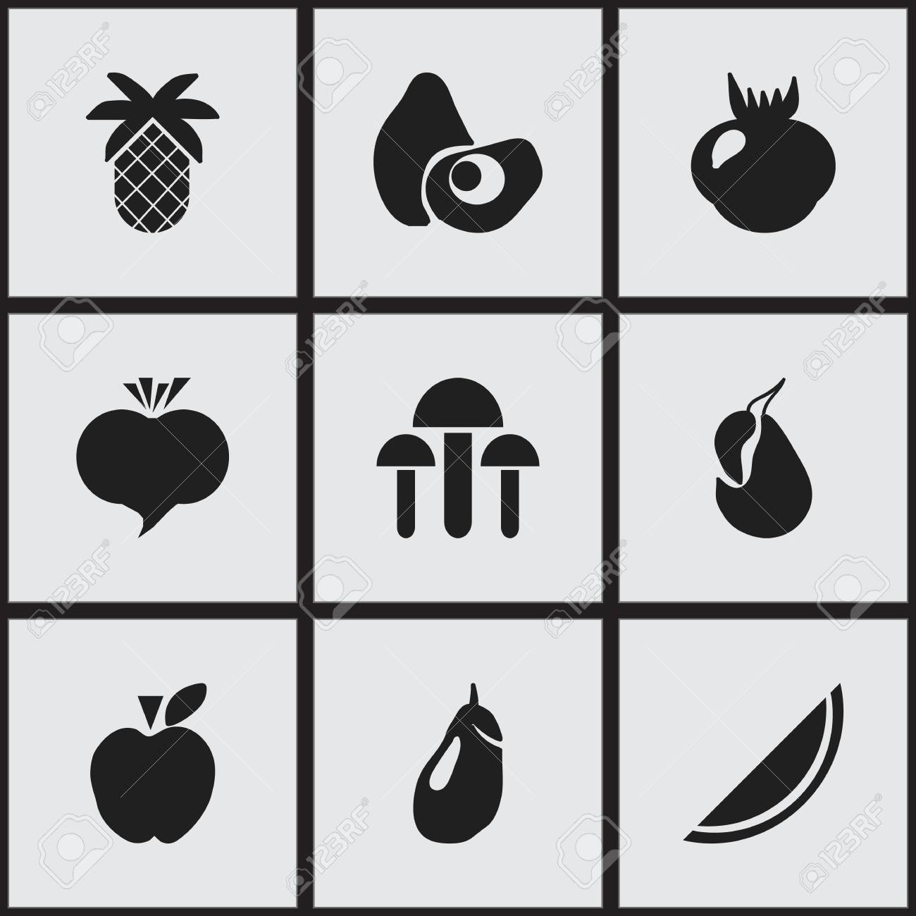 set of 9 editable fruits icons includes symbols such as champignon