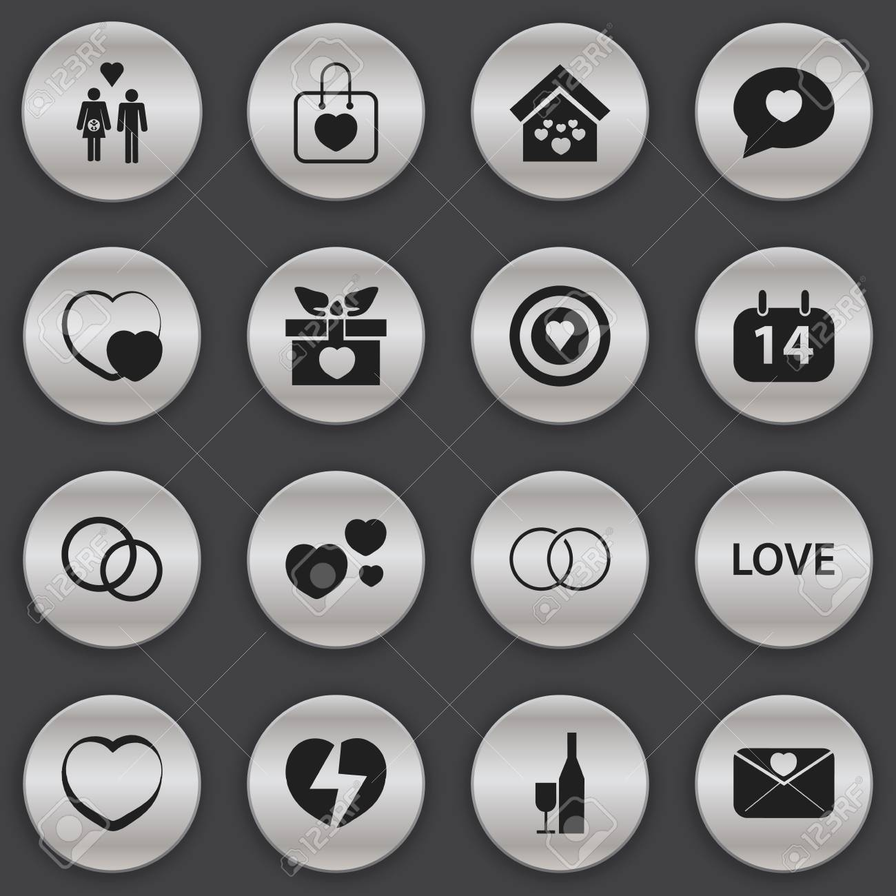 Set Of 9 Editable Heart Icons. Includes Symbols Such As Domicile