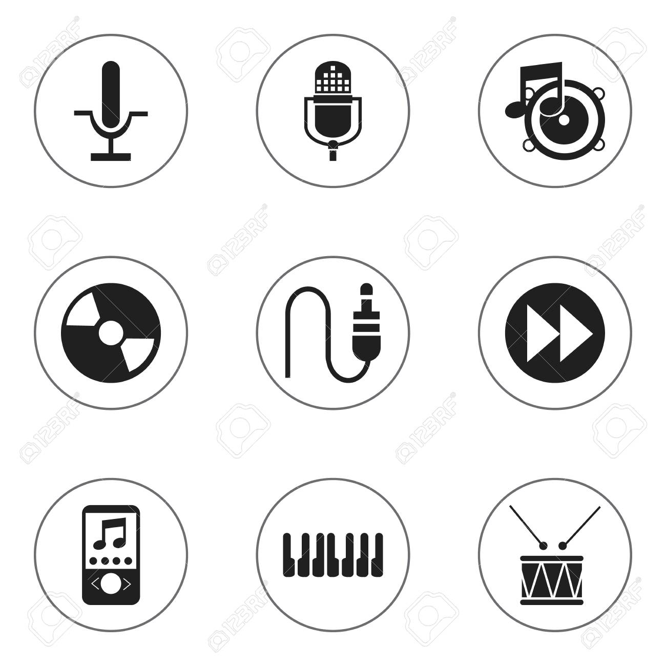 Set of 9 editable sound icons includes symbols such as radio includes symbols such as radio mike drum biocorpaavc Gallery