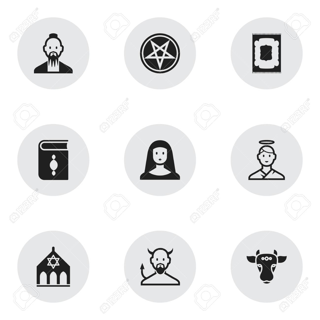 Set Of 9 Editable Religion Icons Includes Symbols Such As Satan