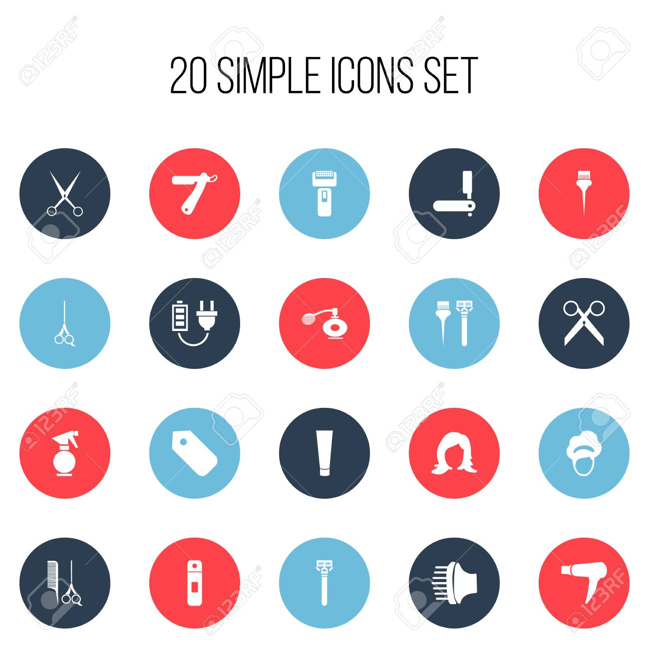 Set Of 20 Editable Tonsorial Artist Icons Includes Symbols Such