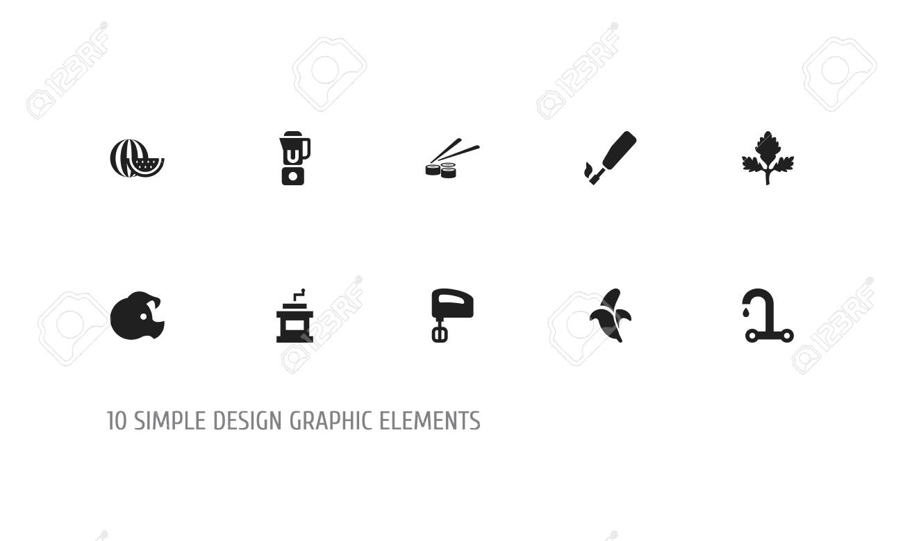 Set Of 10 Editable Cooking Icons Includes Symbols Such As Gas