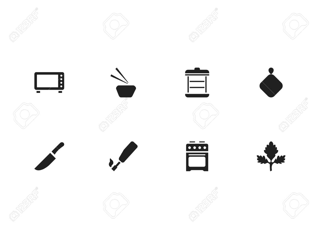 Set Of 8 Editable Cooking Icons Includes Symbols Such As Oven