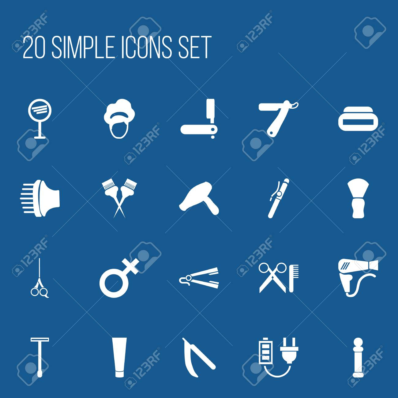 Set Of 20 Editable Coiffeur Icons Includes Symbols Such As