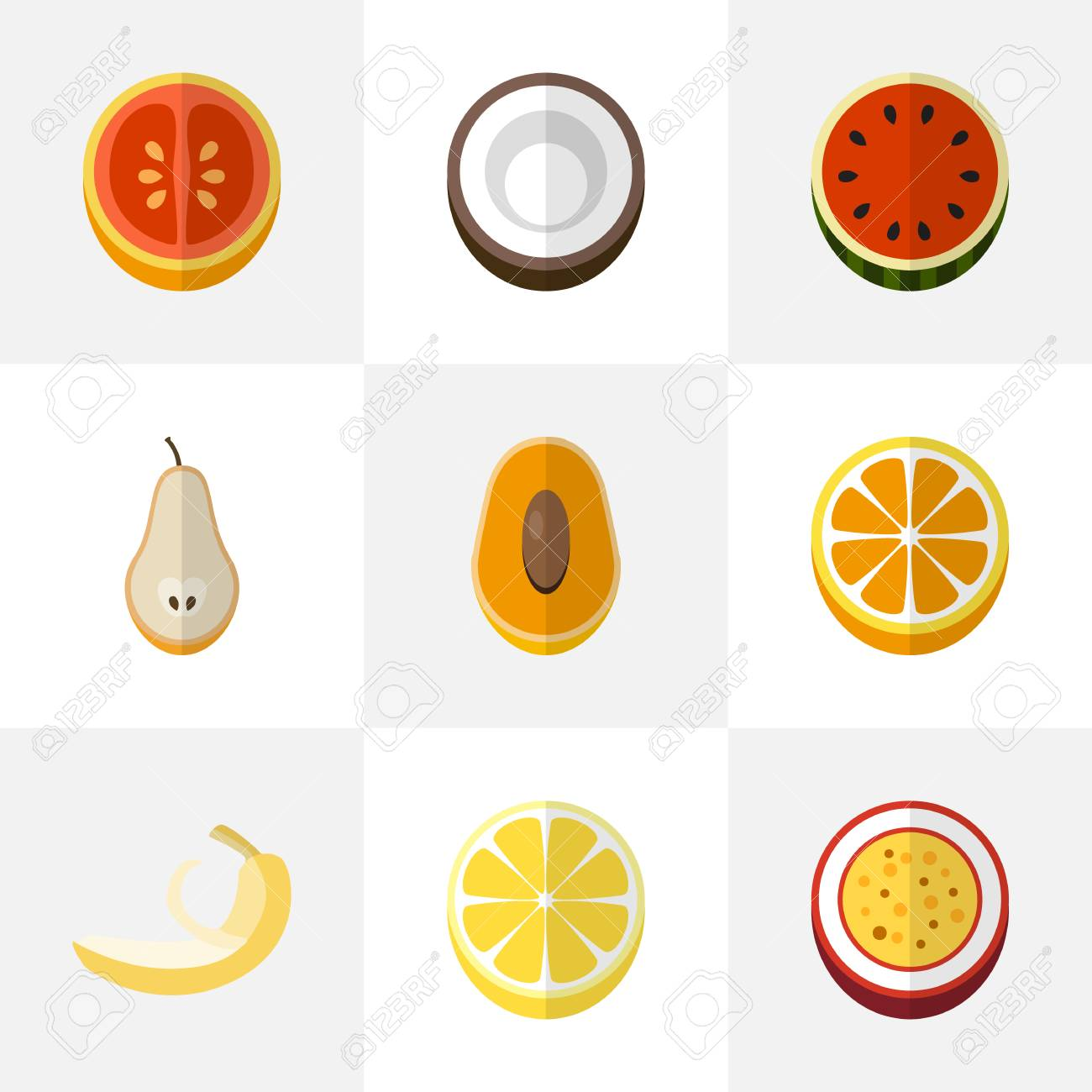 set of 9 editable fruits flat icons includes symbols such as