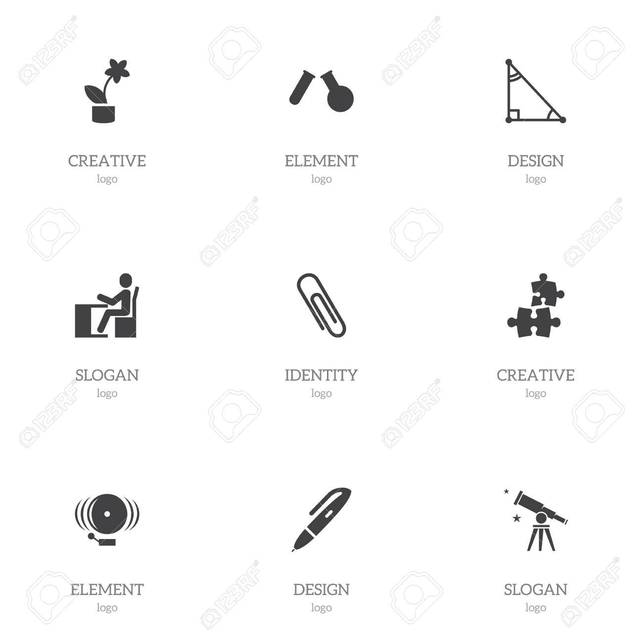 Set Of 9 Editable Teach Icons Includes Symbols Such As Triangle