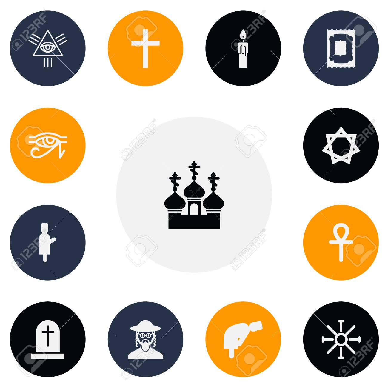 Set Of 13 Editable Religion Icons Includes Symbols Such As David