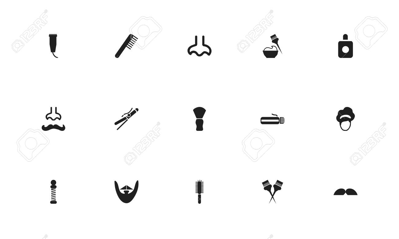 Set of 15 editable hairdresser icons  Includes symbols such as