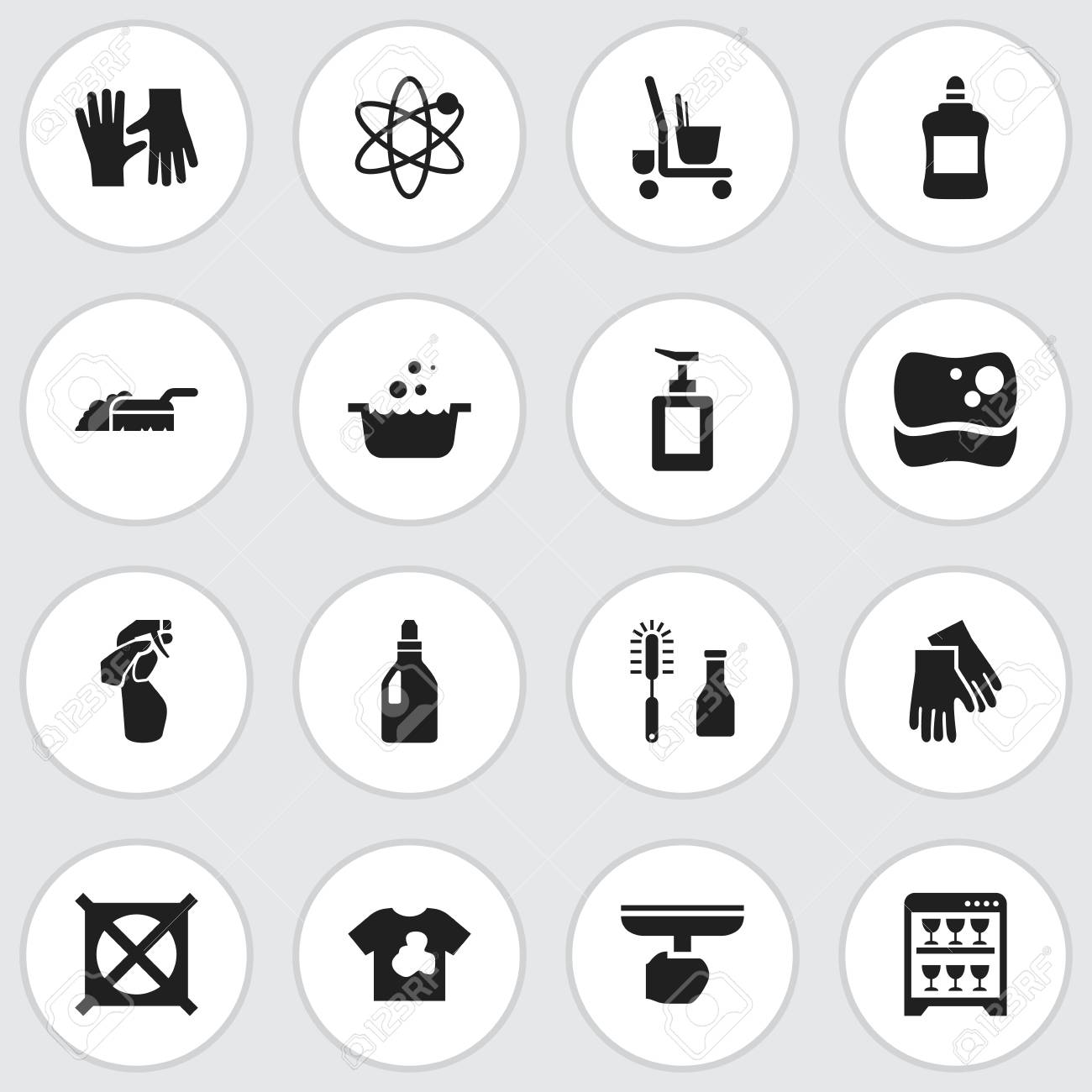 Set Of 16 Editable Cleaning Icons Includes Symbols Such As Washing
