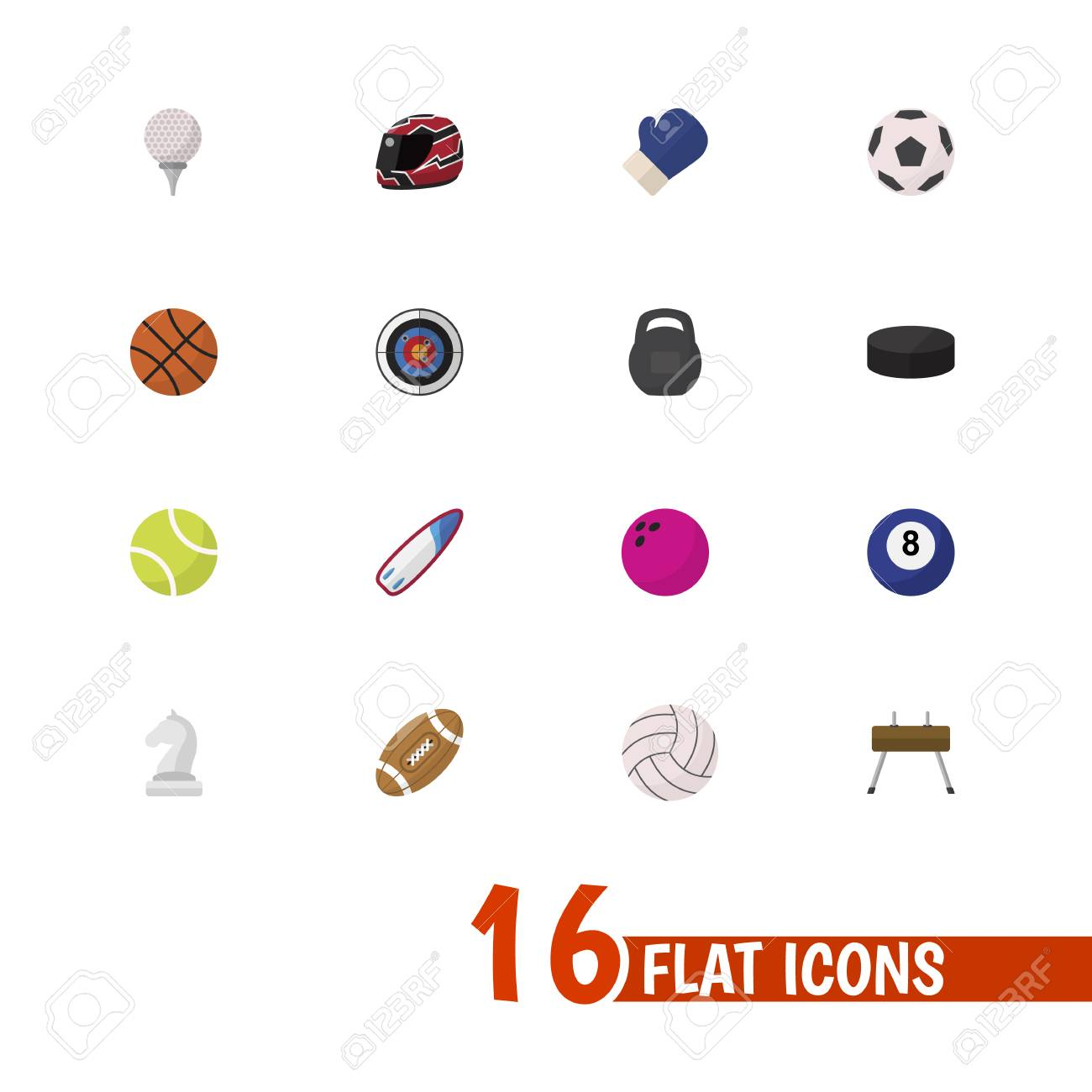 Set Of 16 Editable Sport Icons Flat Style Includes Symbols Such