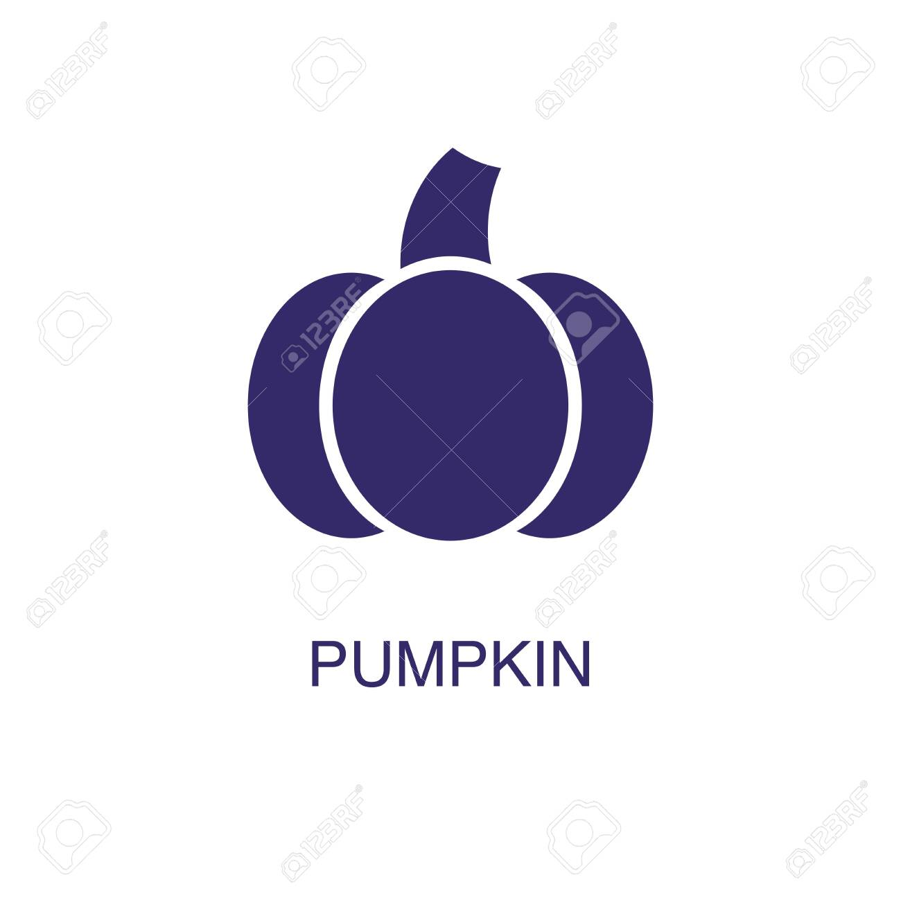 Pumpkin element in flat simple style on white background. Pumpkin icon, with text name concept template - 134450172