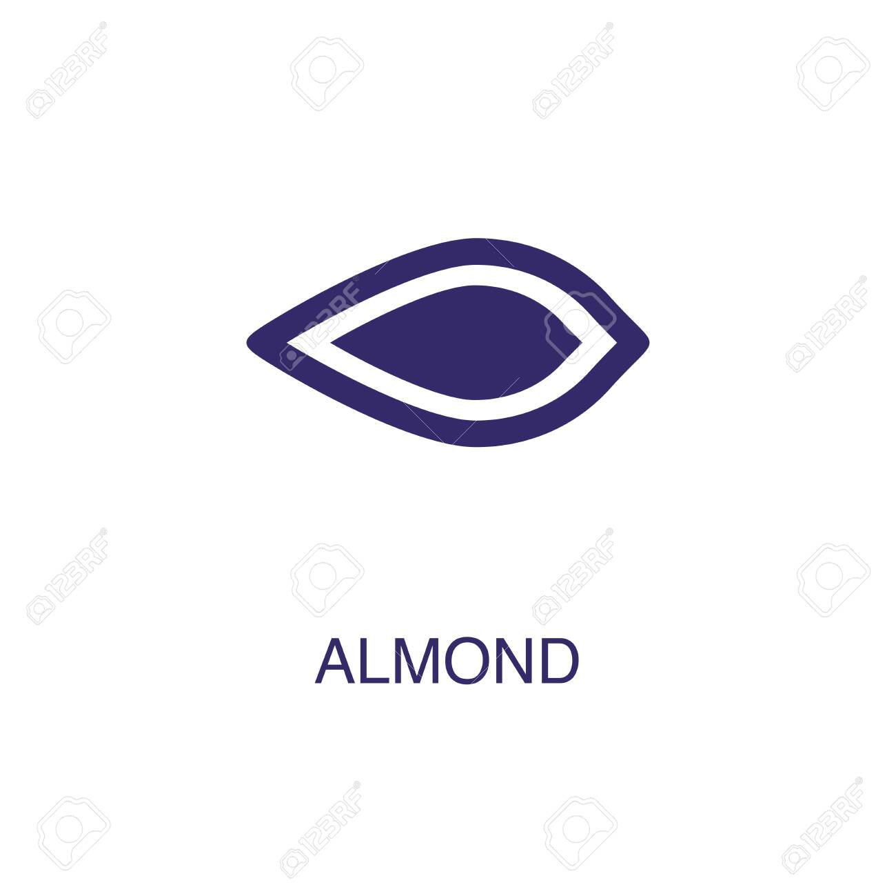 Almond element in flat simple style on white background. Almond icon, with text name concept template - 134450292