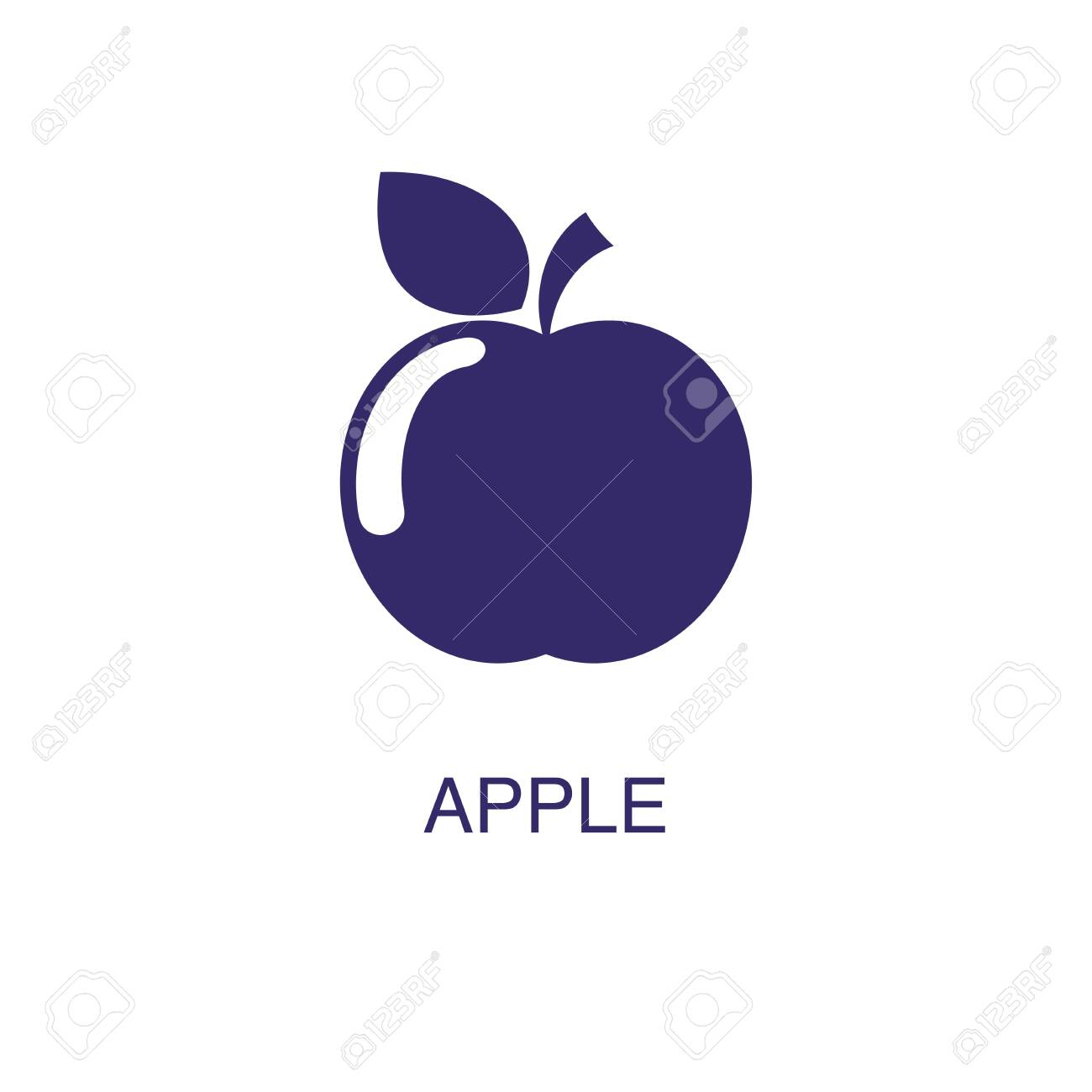 apple element in flat simple style on white background. apple icon, with text name concept template - 134450317