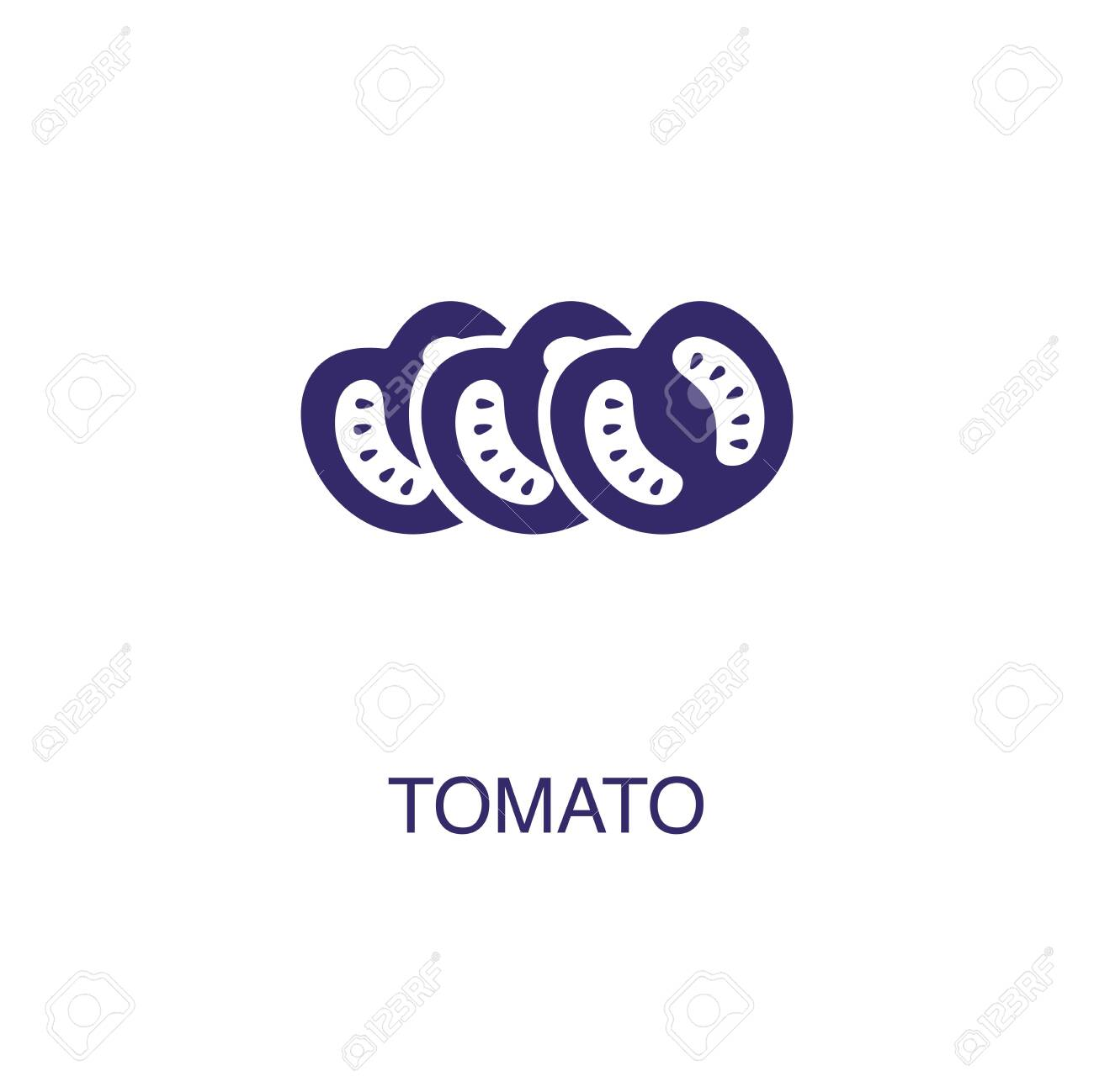 Tomato element in flat simple style on white background. Tomato icon, with text name concept template - 134450366