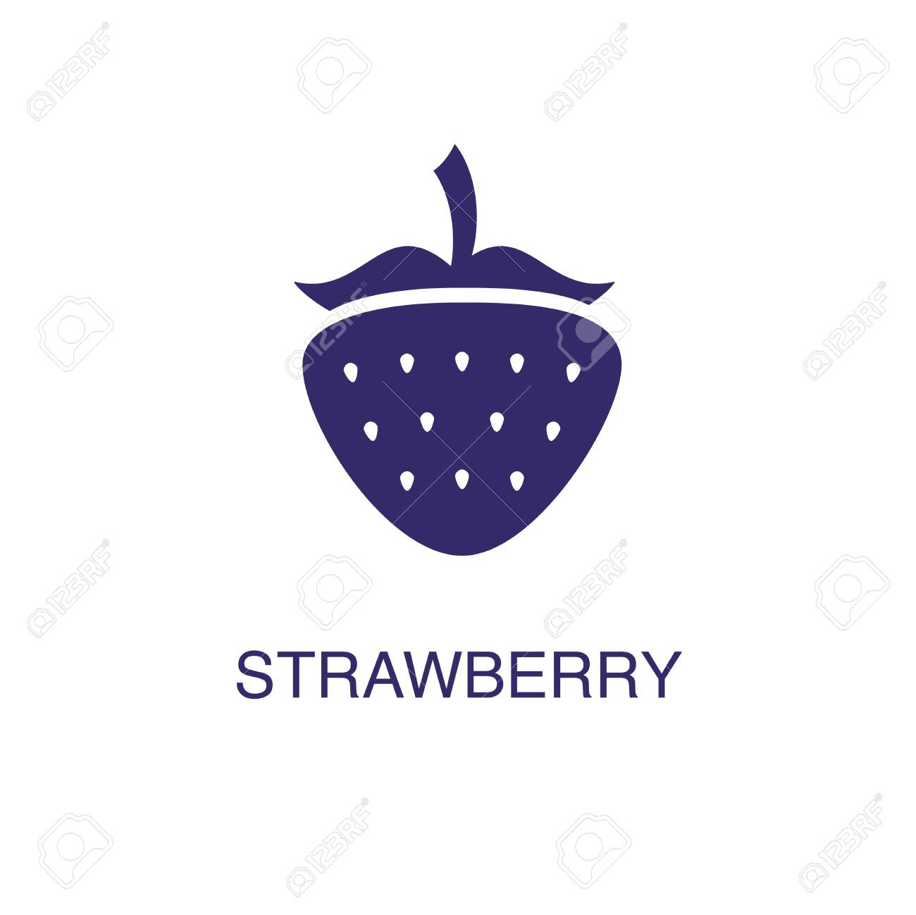 Strawberry element in flat simple style on white background. Strawberry icon, with text name concept template - 134450454