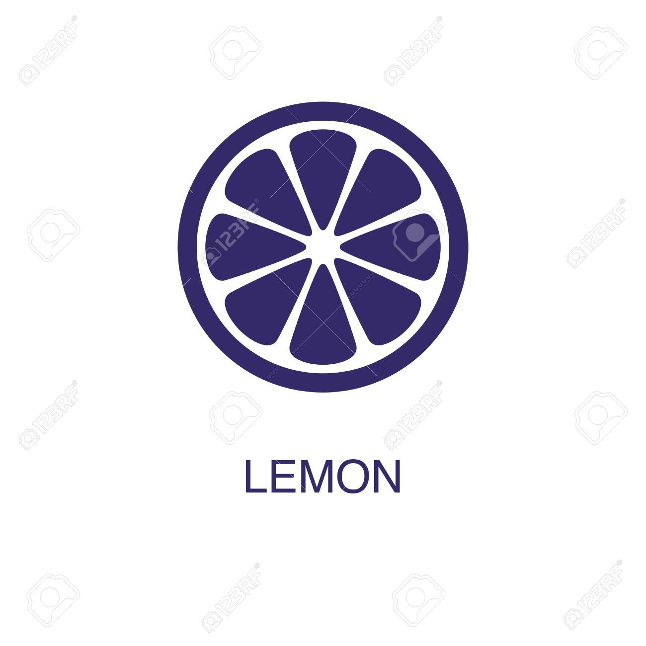 Lemon element in flat simple style on white background. Lemon icon, with text name concept template - 134450457