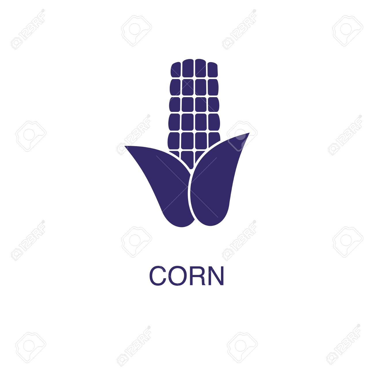 Corn element in flat simple style on white background. Corn icon, with text name concept template - 134450459