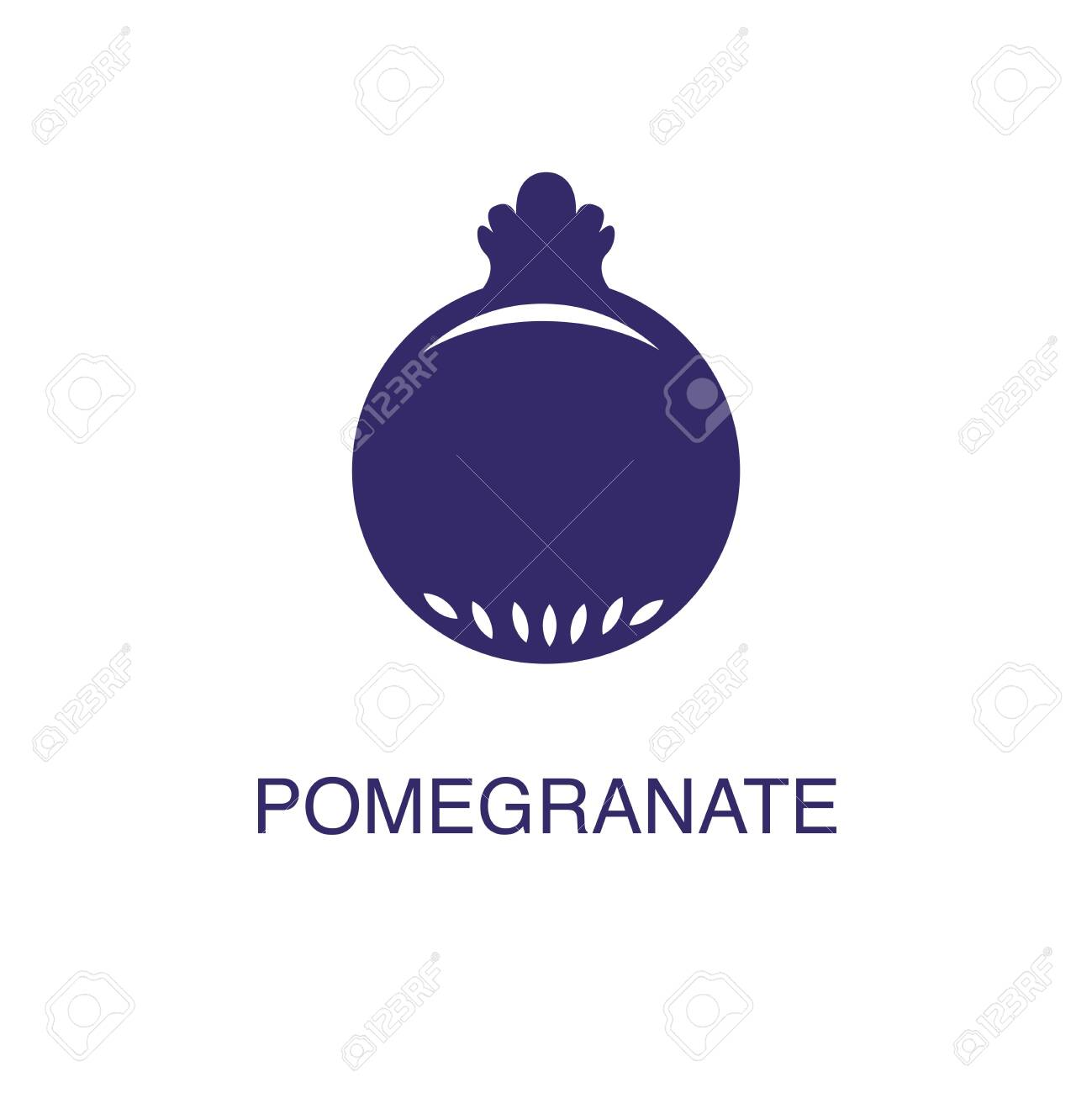 Pomegranate element in flat simple style on white background. Pomegranate icon, with text name concept template - 134450524