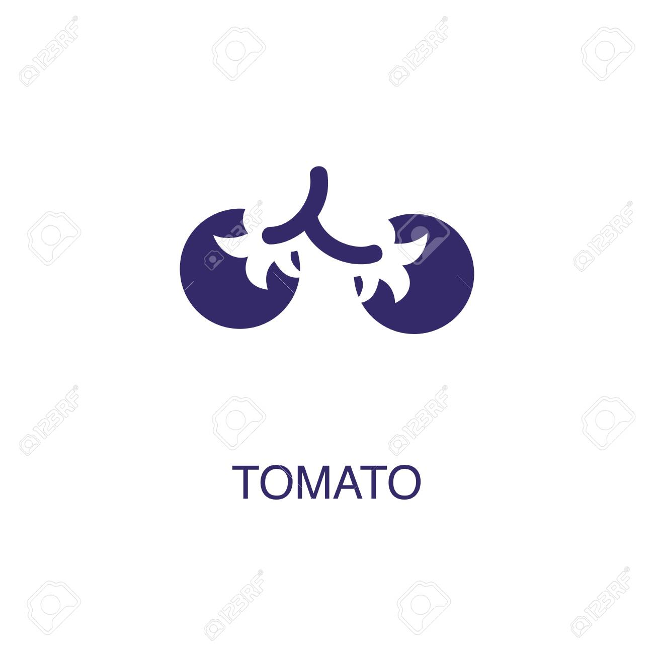 Tomato element in flat simple style on white background. Tomato icon, with text name concept template - 134450571