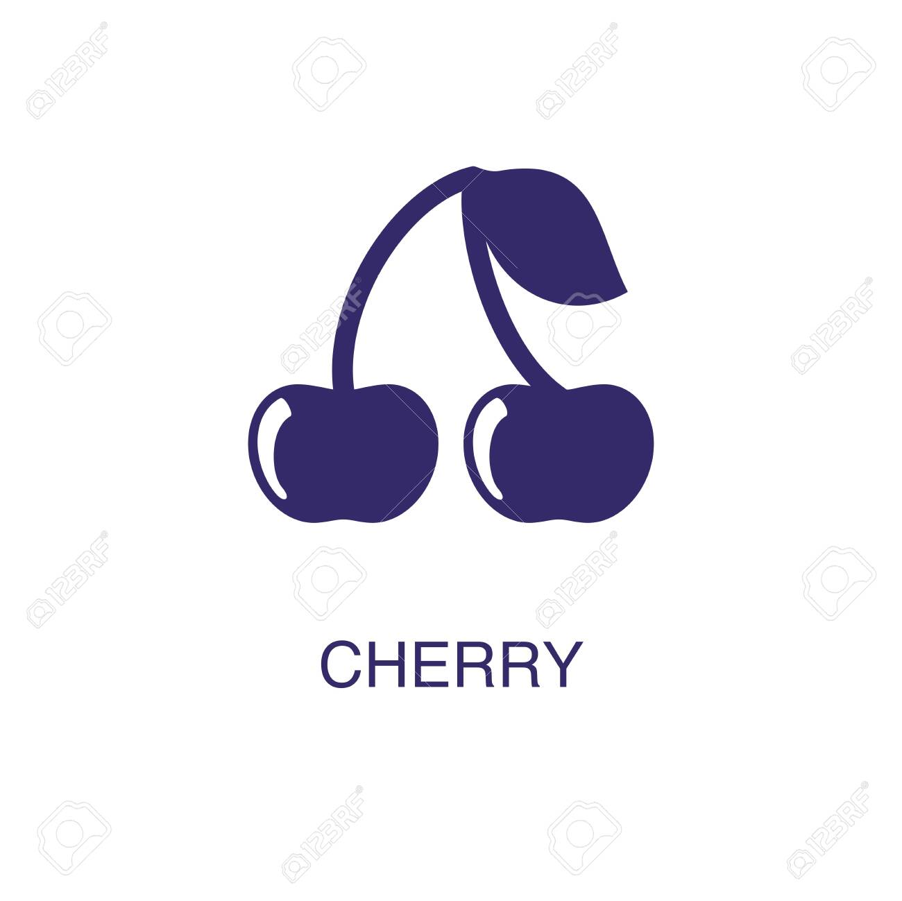 Cherry element in flat simple style on white background. Cherry icon, with text name concept template - 134450595