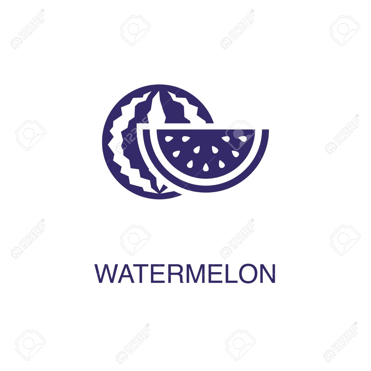 Watermelon element in flat simple style on white background. Watermelon icon, with text name concept template - 134450690
