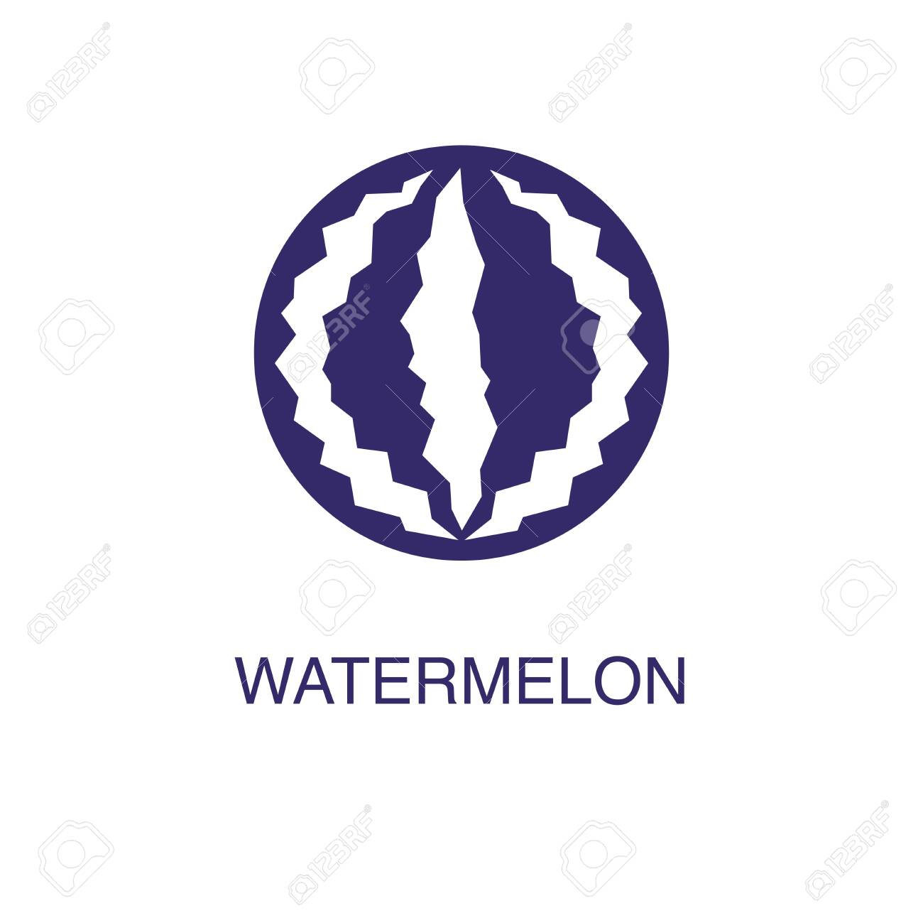 Watermelon element in flat simple style on white background. Watermelon icon, with text name concept template - 134450692