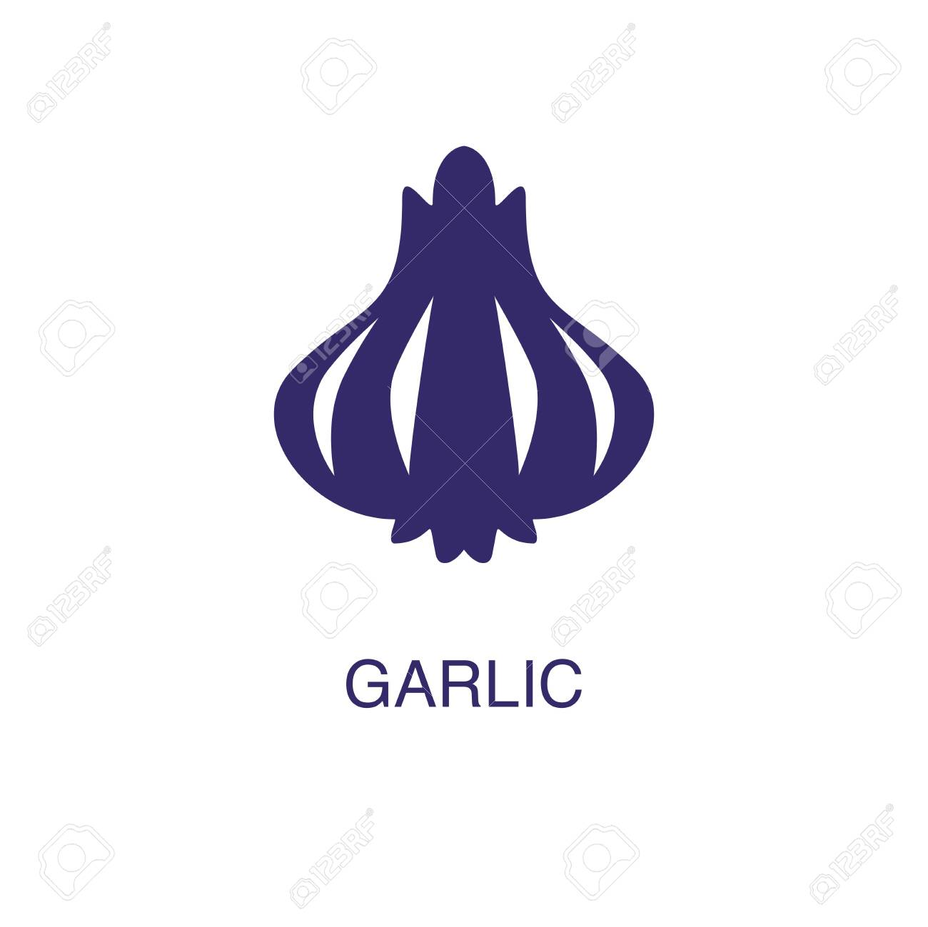 Garlic element in flat simple style on white background. Garlic icon, with text name concept template - 134450715