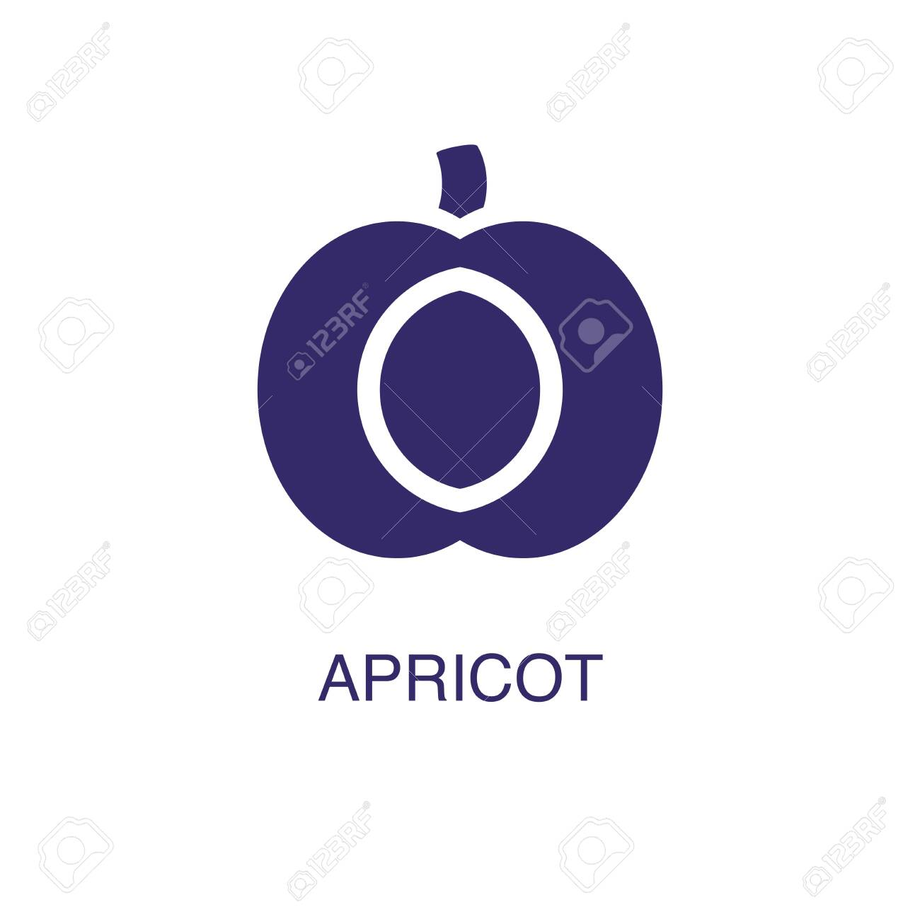 Apricot element in flat simple style on white background. Apricot icon, with text name concept template - 134450786