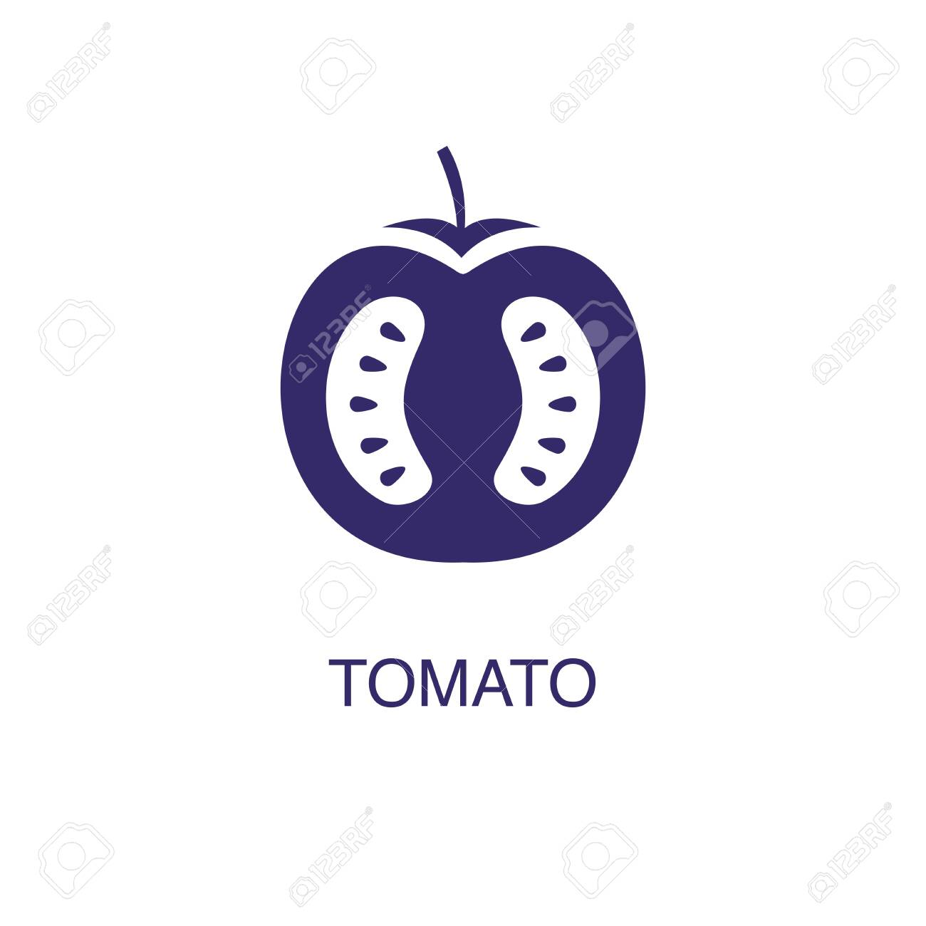 Tomato element in flat simple style on white background. Tomato icon, with text name concept template - 134450808