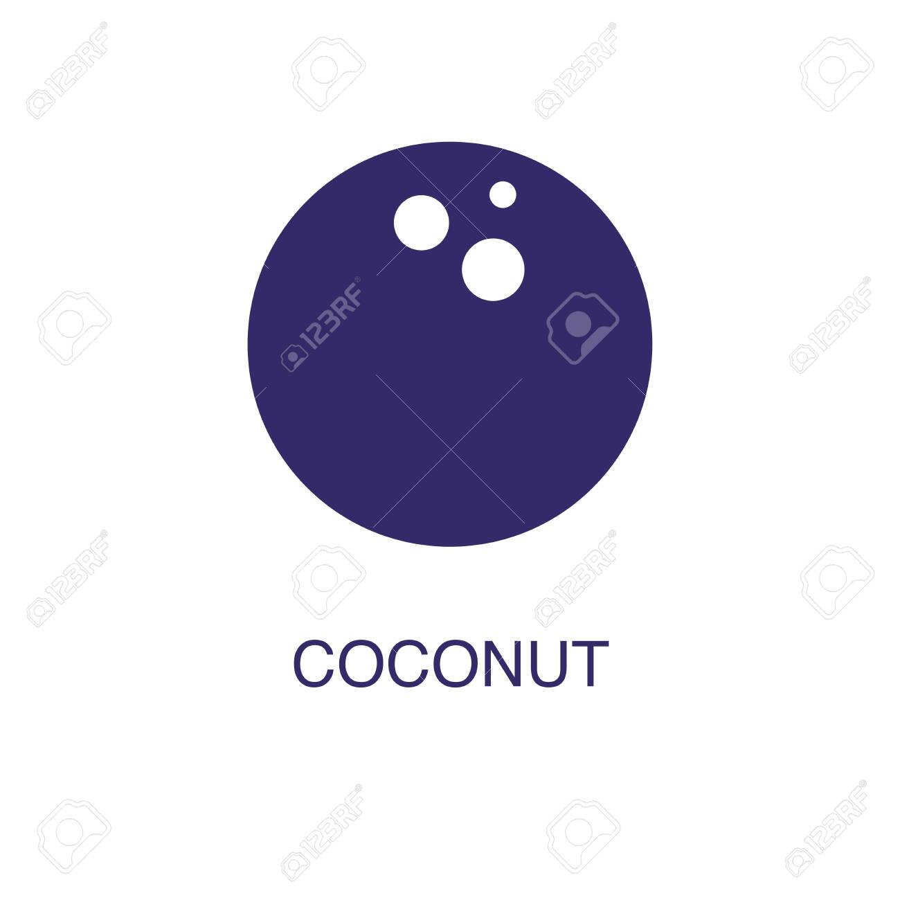 Coconut element in flat simple style on white background. Coconut icon, with text name concept template - 134450831