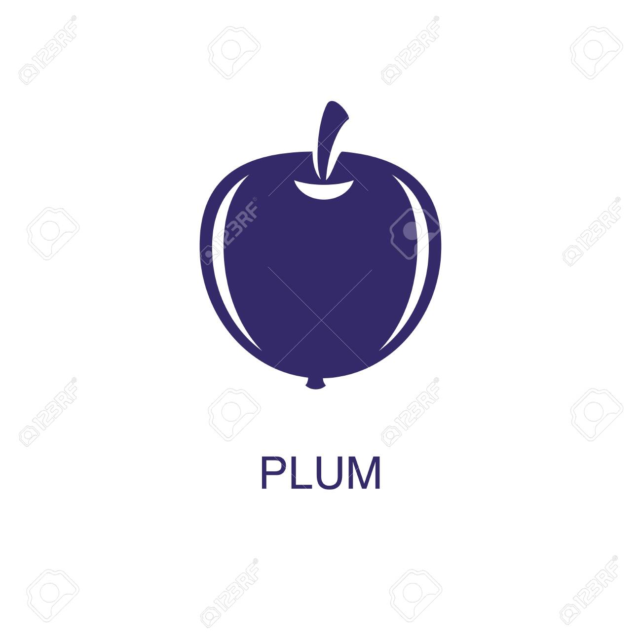 Plum element in flat simple style on white background. Plum icon, with text name concept template - 135073672