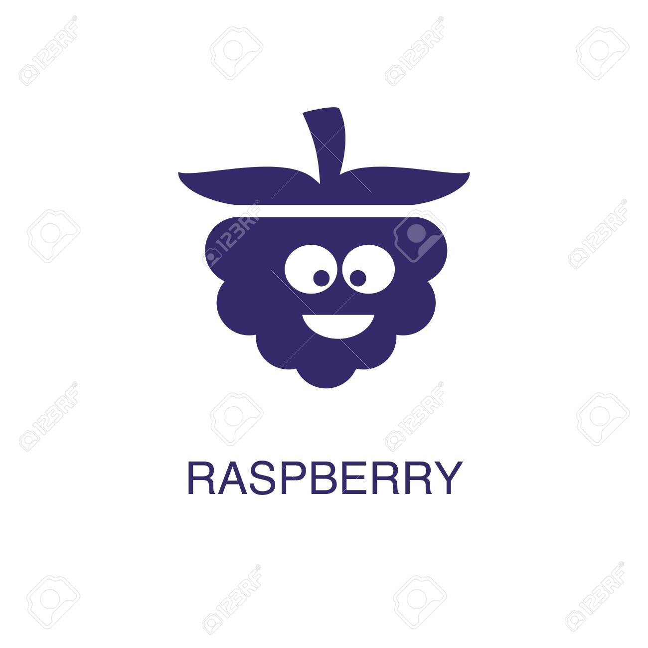 Raspberry element in flat simple style on white background. Raspberry icon, with text name concept template - 135073724