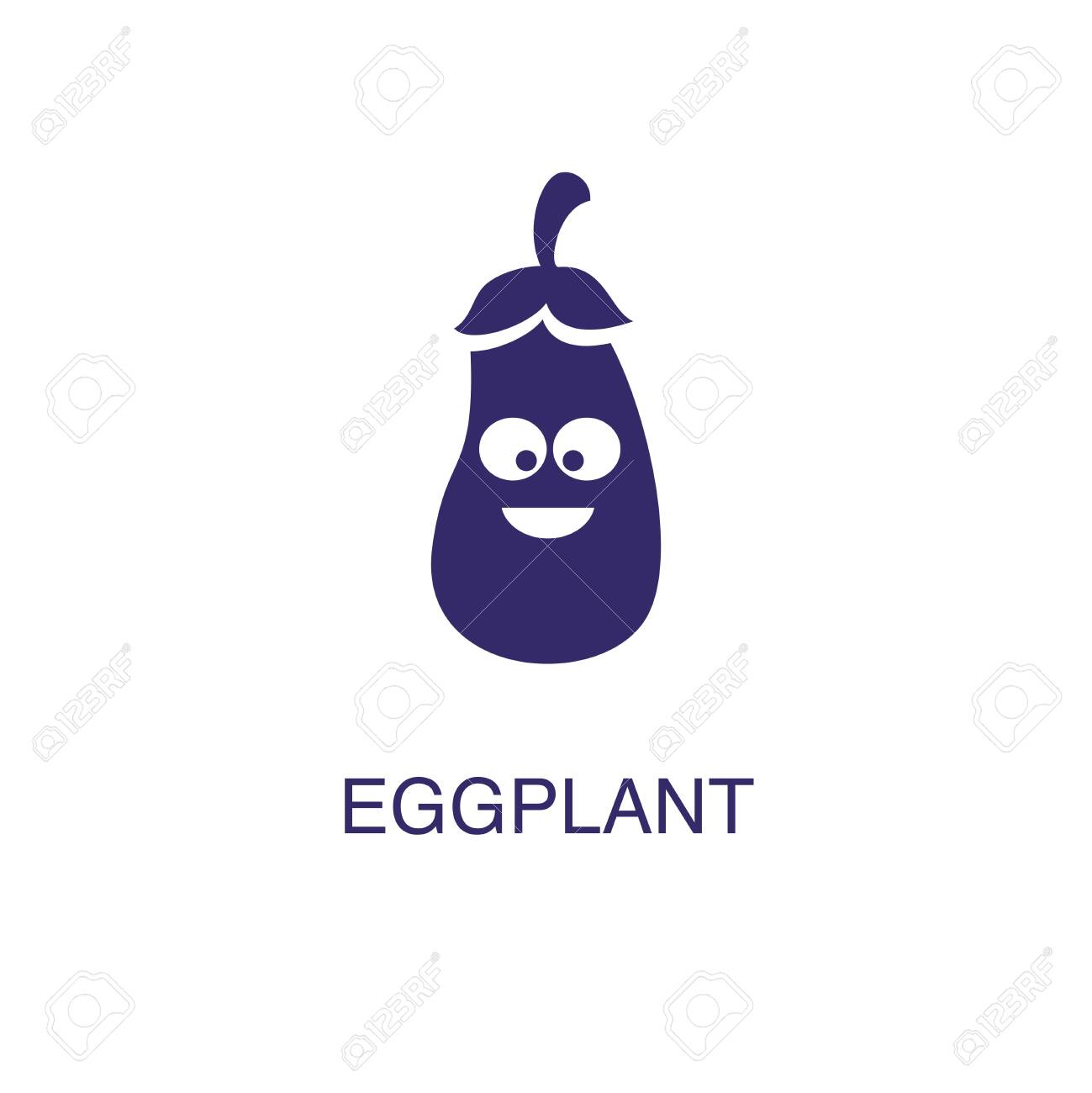 Eggplant element in flat simple style on white background. Eggplant icon, with text name concept template - 134450846
