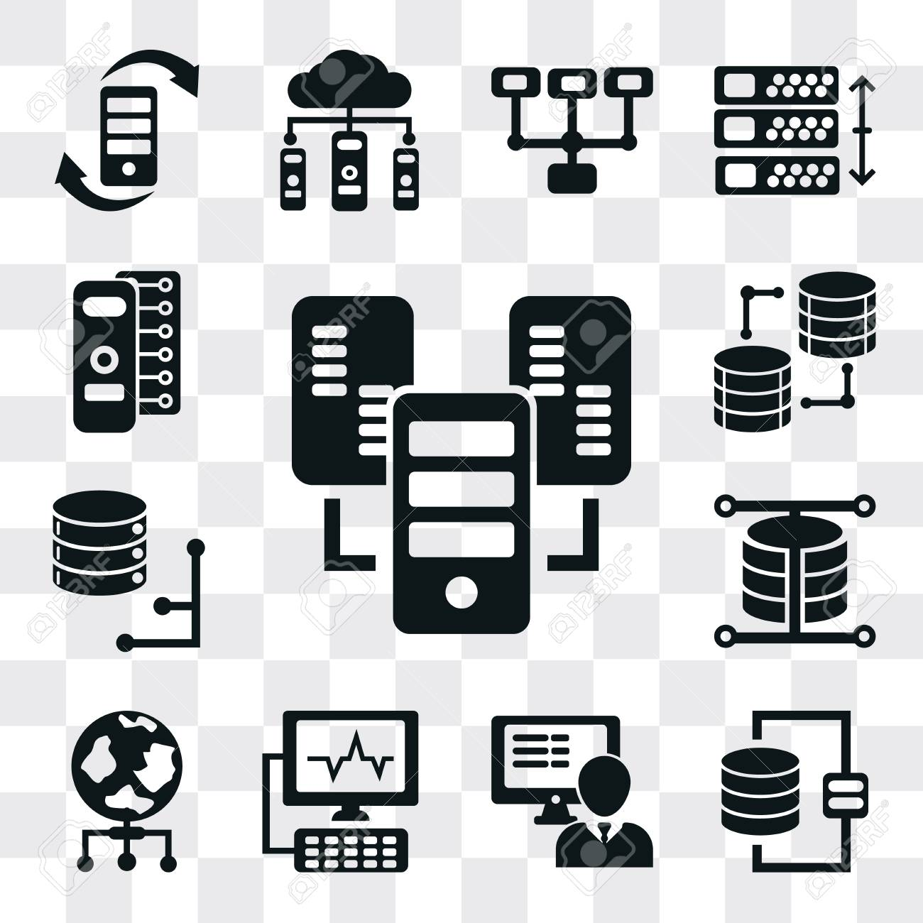 Set Of 13 simple editable icons such as Server, Database, Computer,