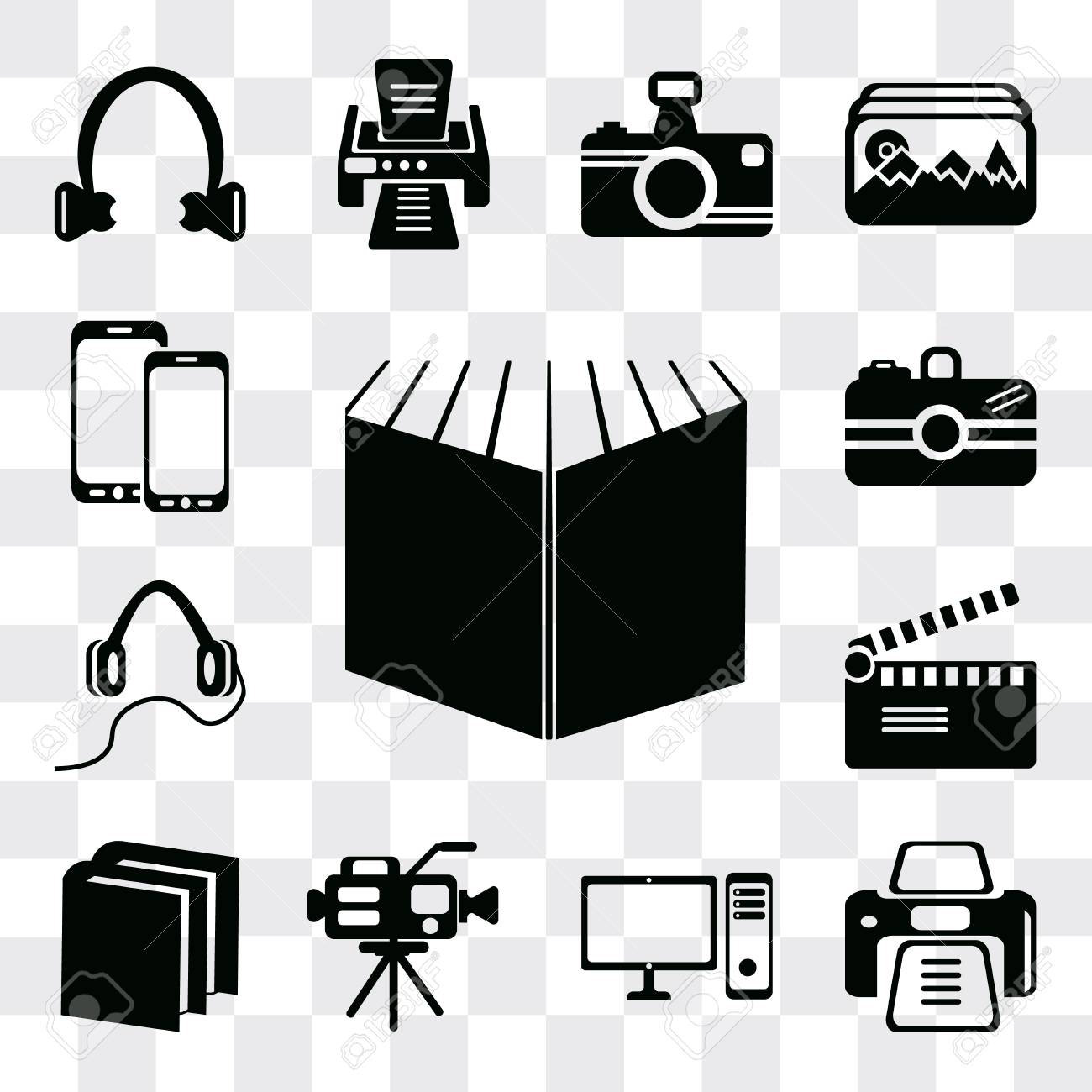 Set Of 13 simple editable icons such as Open book black cover,