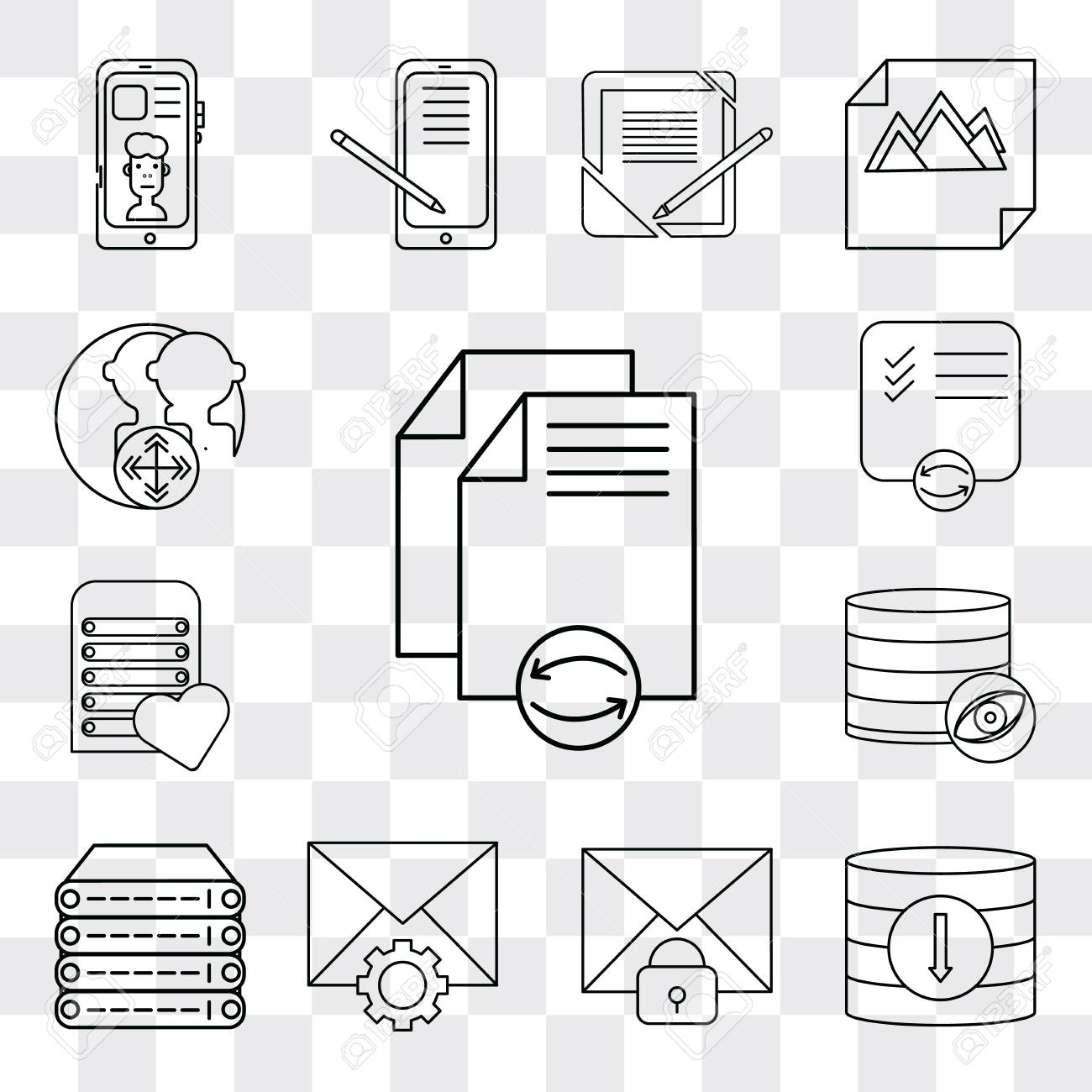 Set Of 13 simple editable icons such as File, Database, Mail,