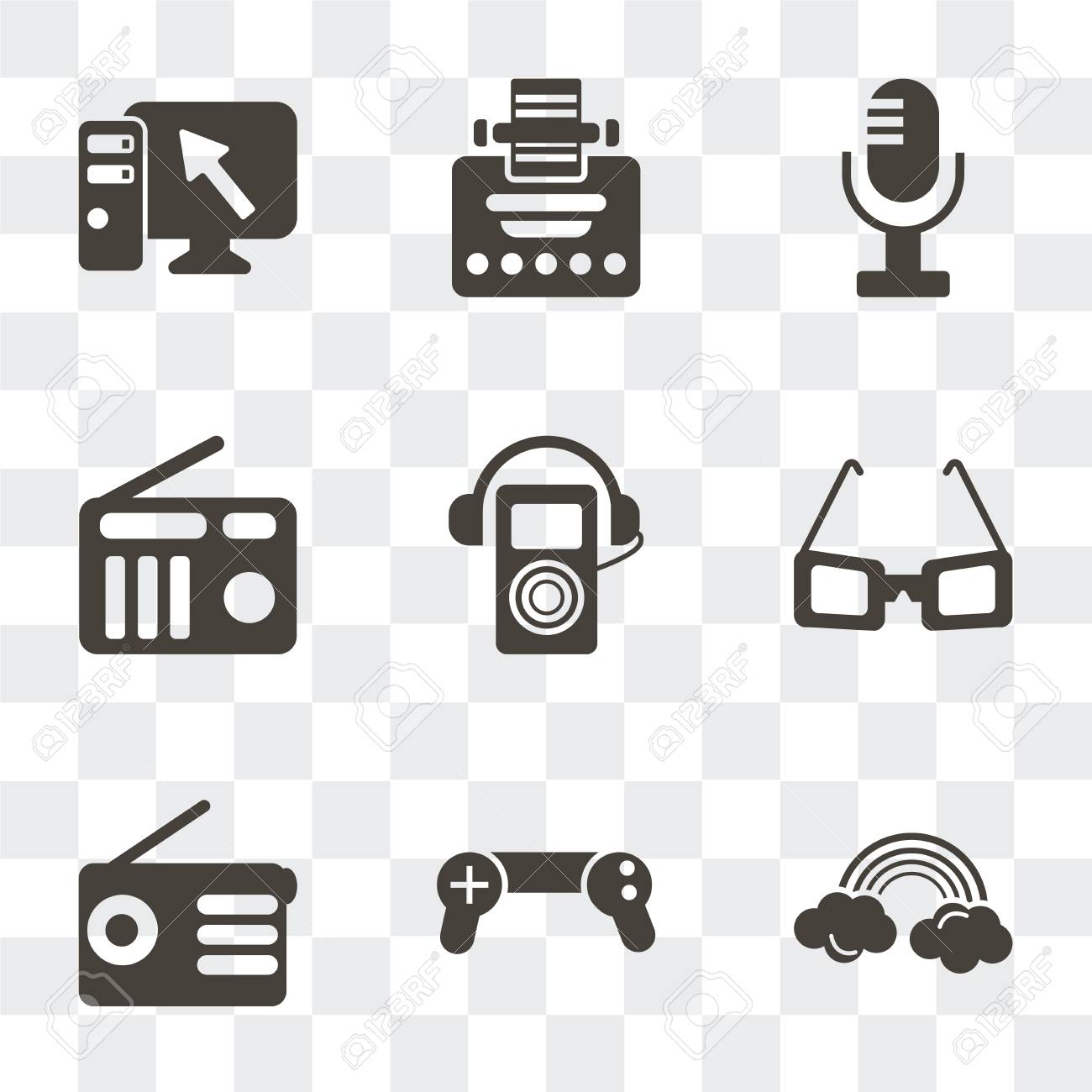 Set Of 9 simple transparency icons such as Rainbow, Gamepad,