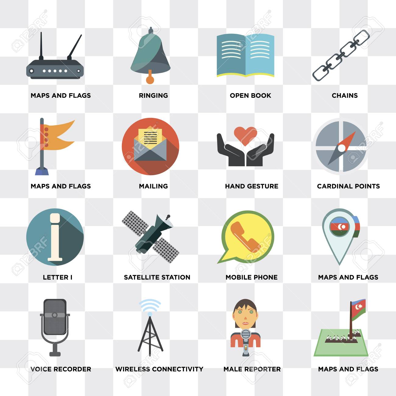 Set Of 16 simple editable icons such as Maps and Flags, Male