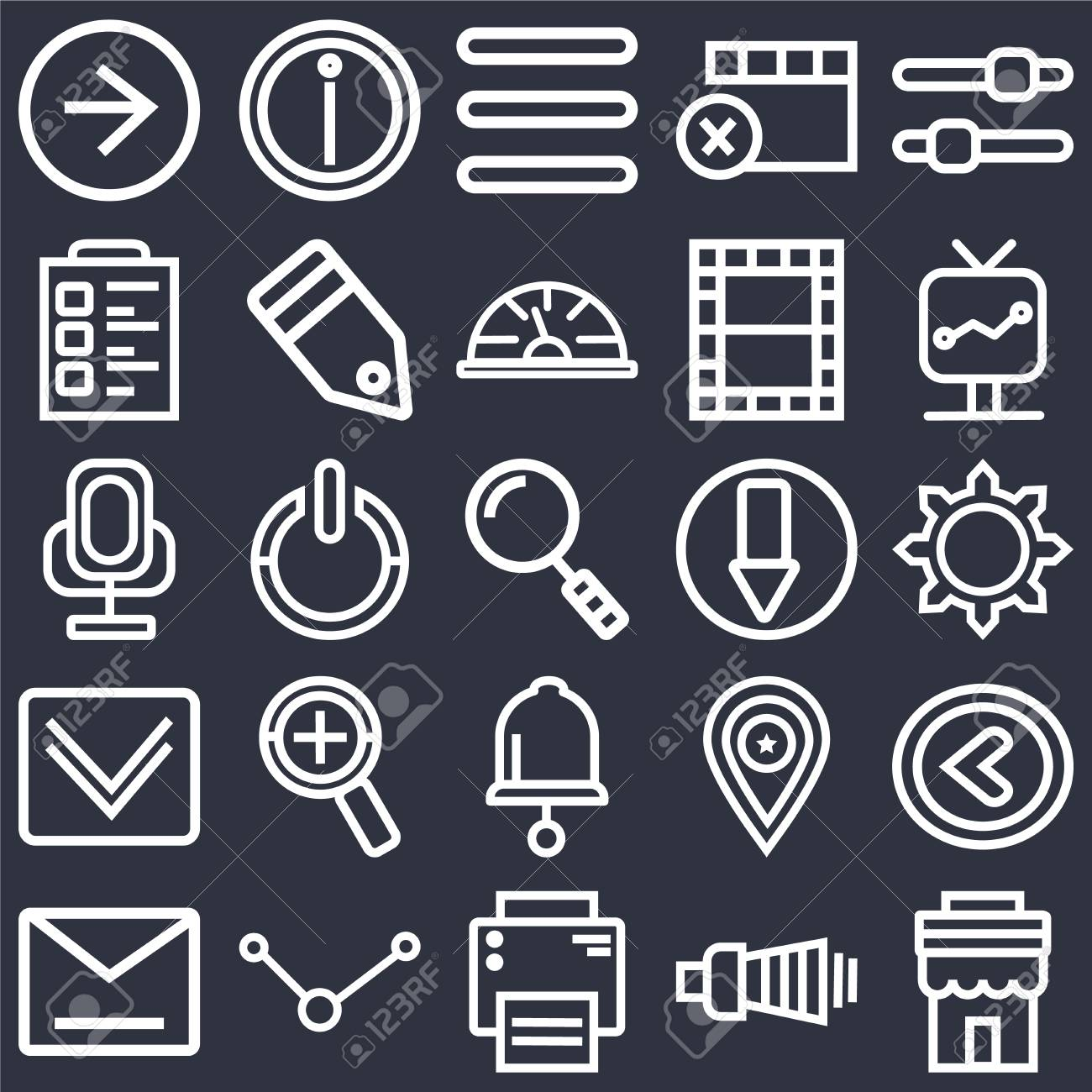 Set Of 25 icons such as Store, Volume, Printer, Share, Envelope,