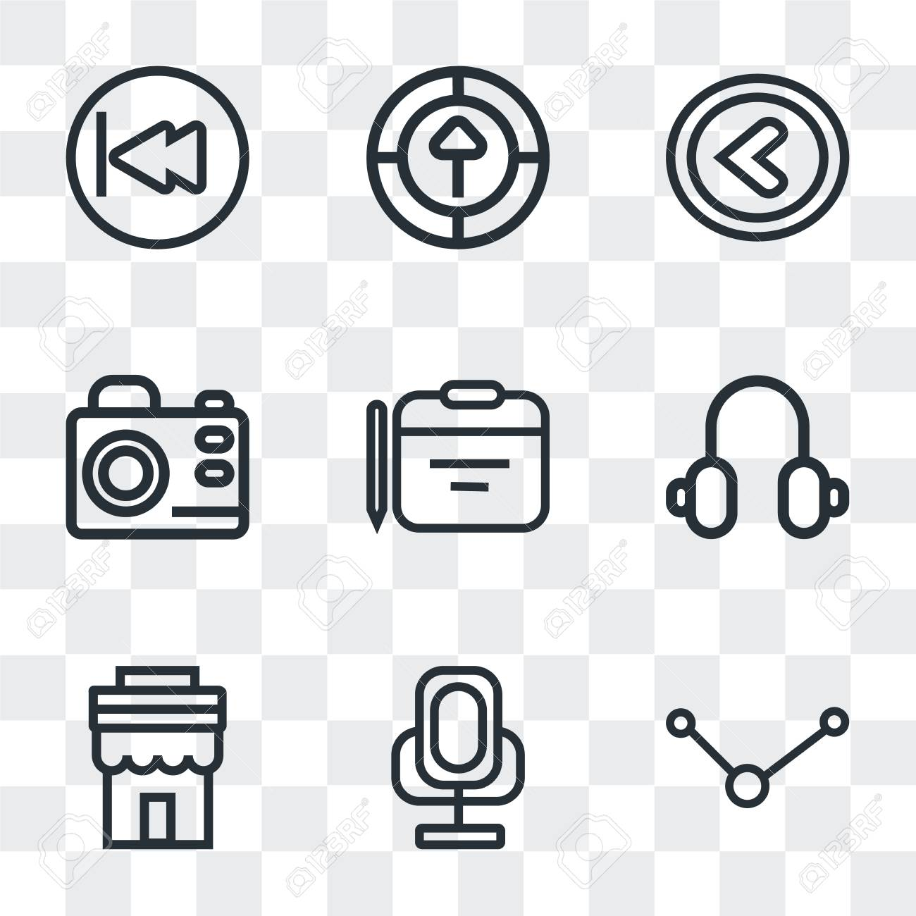 Set Of 9 simple transparency icons such as Share, Voice recorder,