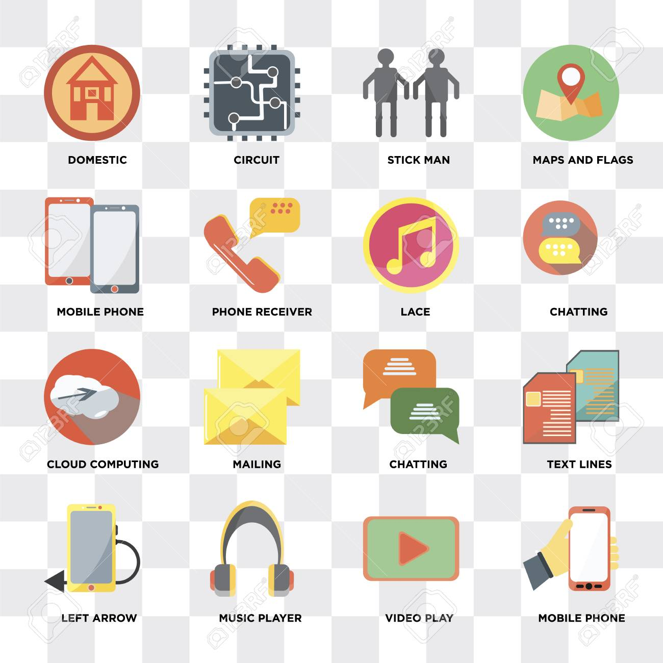 Set Of 16 icons such as Mobile phone, Video play, Music player,