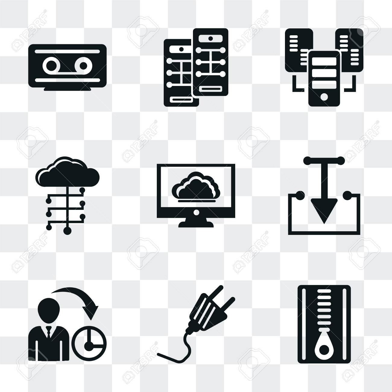 Set Of 9 simple transparency icons such as Archive, Plug, Management,