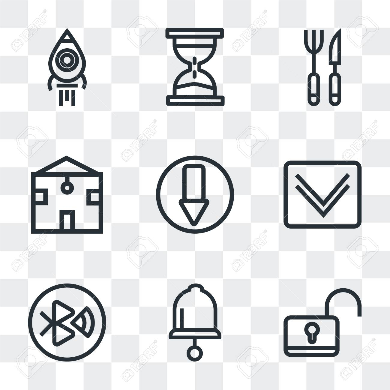 Set Of 9 simple transparency icons such as Unlock, Bell, tooth,