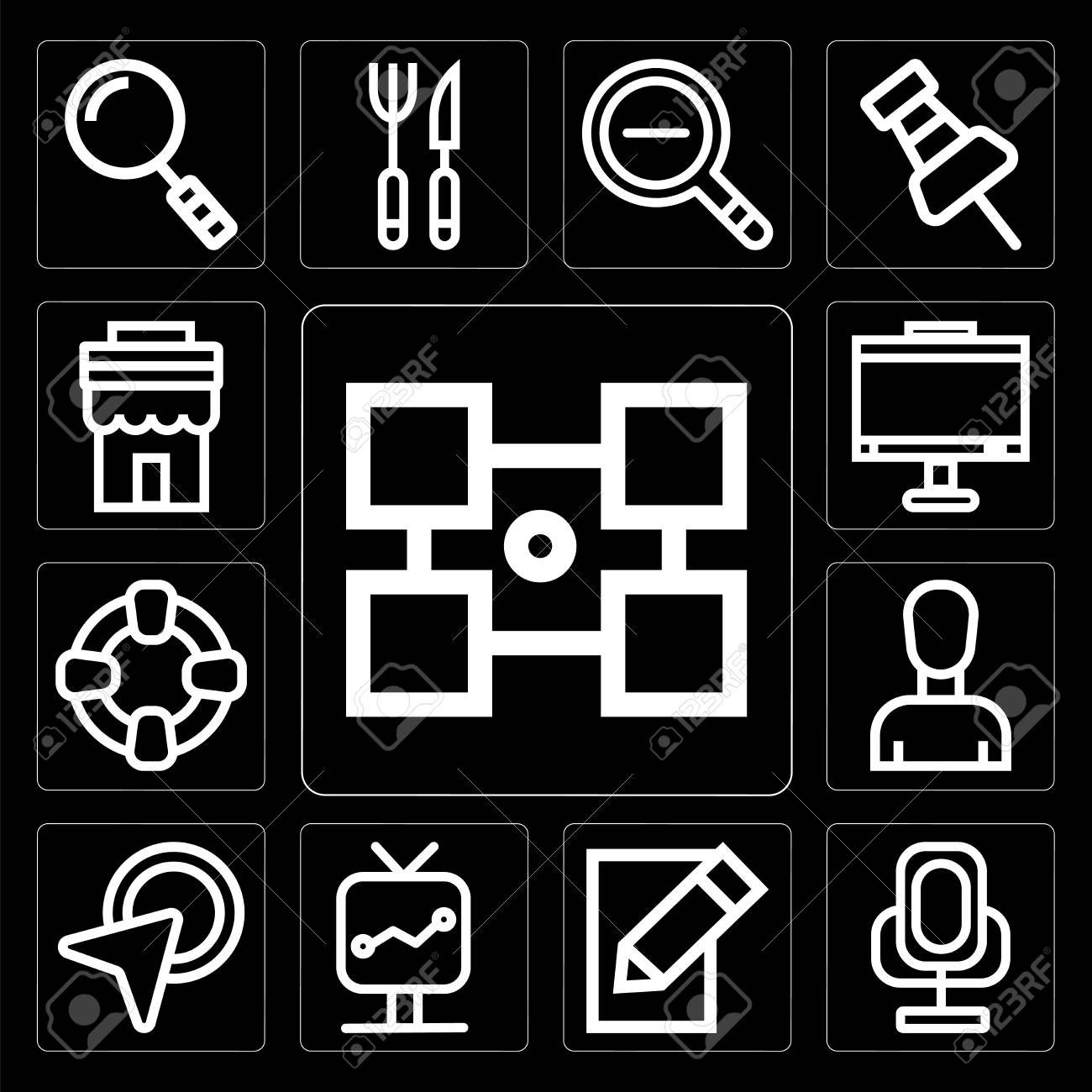 Set Of 13 simple editable icons such as Layout, Voice recorder, Edit,  Screen, Cursor, Profile, Help, Monitor, Store on black background