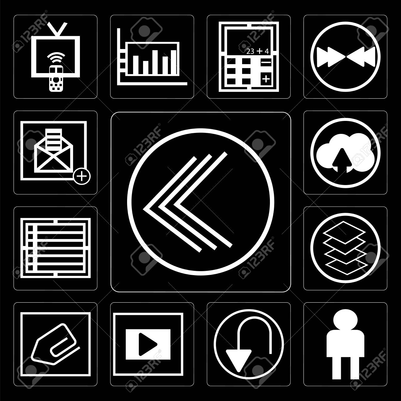 Set Of 13 Simple Editable Icons Such As Go Back Button User