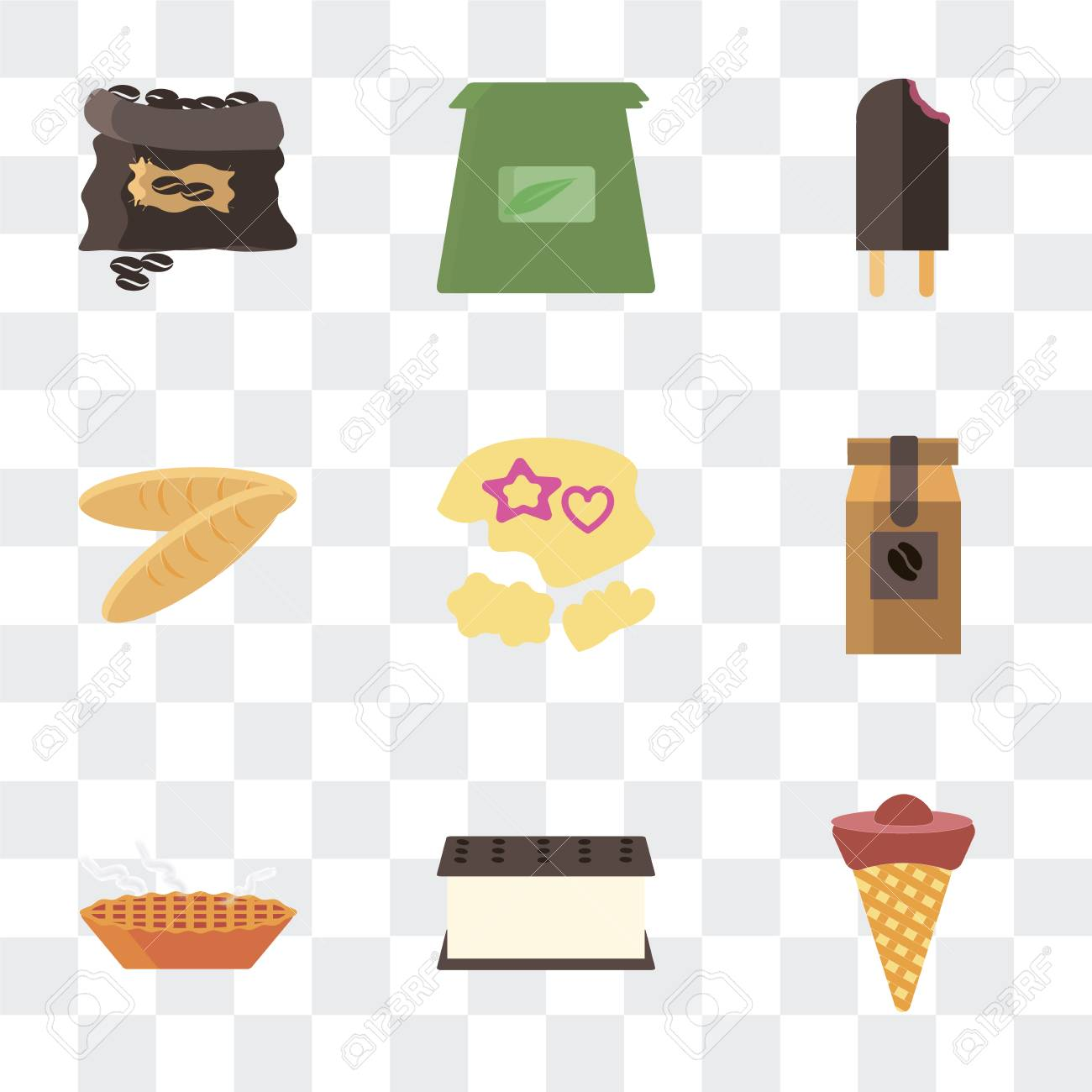 Set Of 9 simple transparency icons such as Ice cream, Pie, Coffee