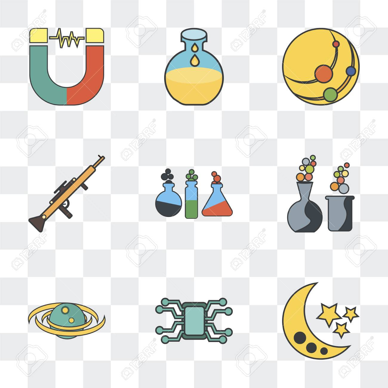 Set Of 9 simple transparency icons such as Moon, Microchip, Galaxy,