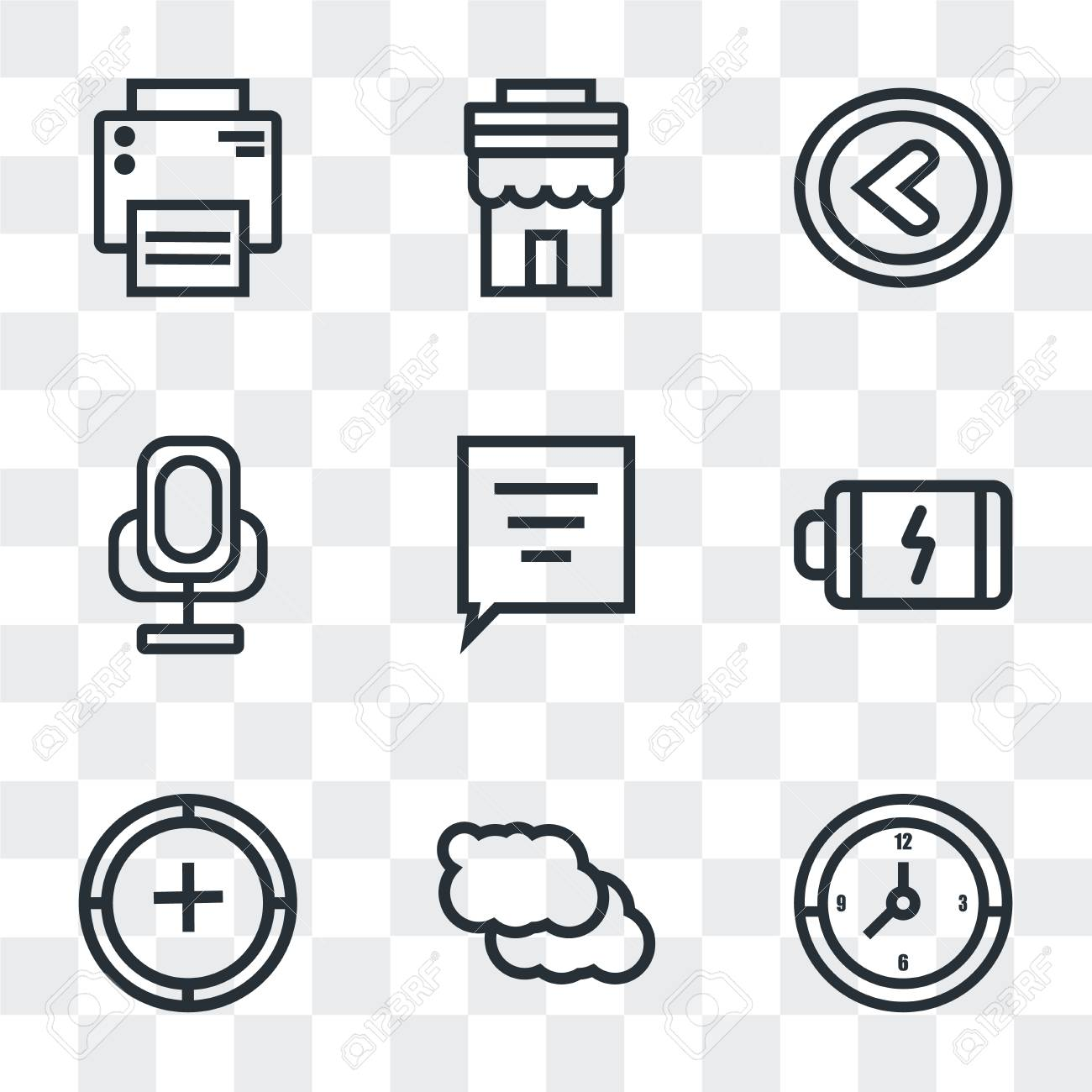 Set Of 9 simple transparency icons such as Clock, Cloud, Add,