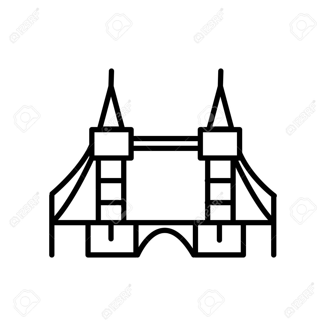 Tower Bridge icon vector isolated on white background, Tower