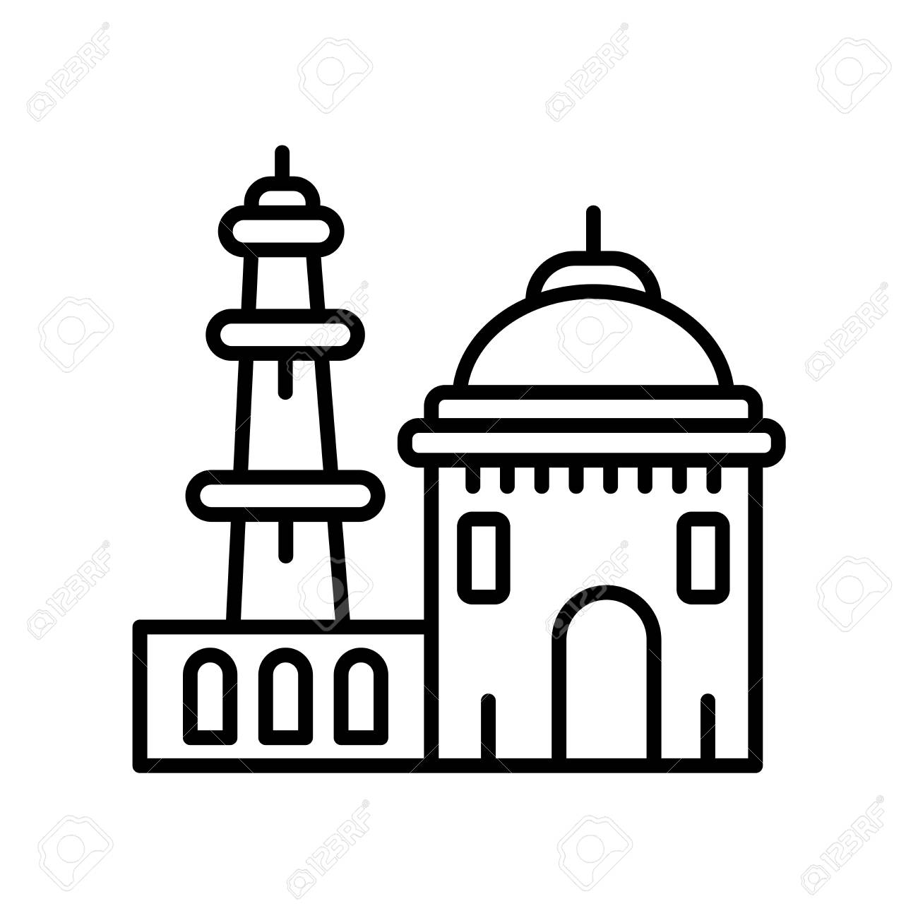 Qutb minar in new delhi icon vector isolated on white background qutb minar in new